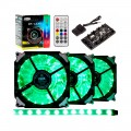 Cooler Dex RGB com Controle DX-123R c/ Fita de Led  Kit 3 Fans 21 Led